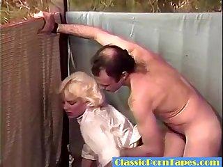 Blonde Letting Him Cum in Retro scene