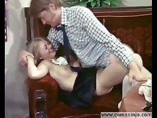 Lucky dude fucked by superhot blonde maid Anna Magle in vintage porn
