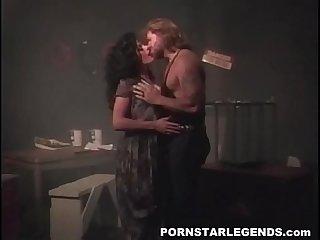 Porn slut double fucked in threeway in back room