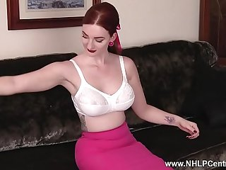 Busty redhead wanks in vintage nylons